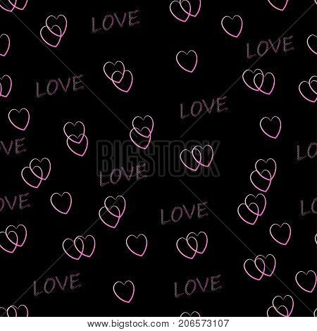 Pattern with pink hearts on a black background