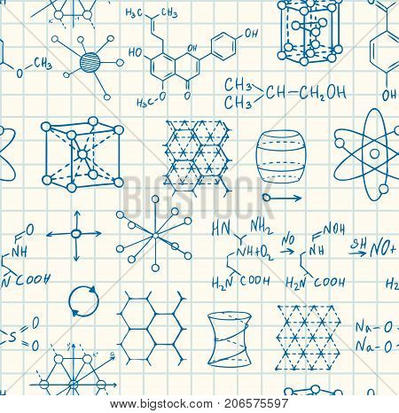 science chemistry and physics seamless vector copybook pattern