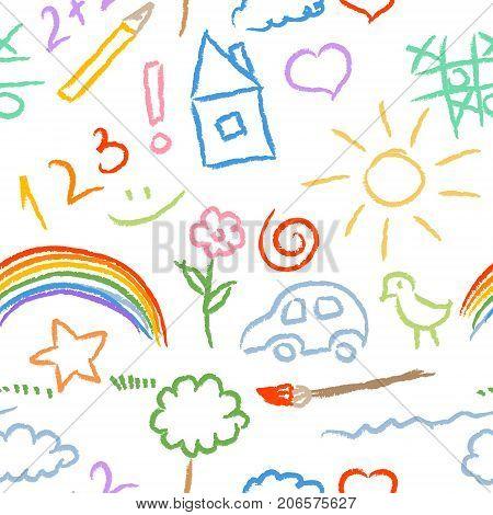 bright children doodle sketch seamless pattern vector