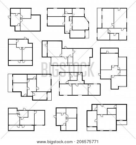 apartment vector plans, architectural floor project blueprint