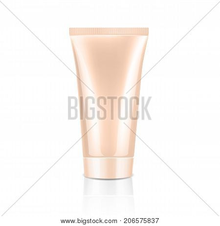 Mock up cosmetic nude tube with nude lid for cream. Beauty product package template, vector illustration.