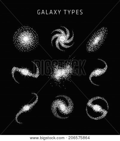 Galaxy types astronomy abstract vector, science poster