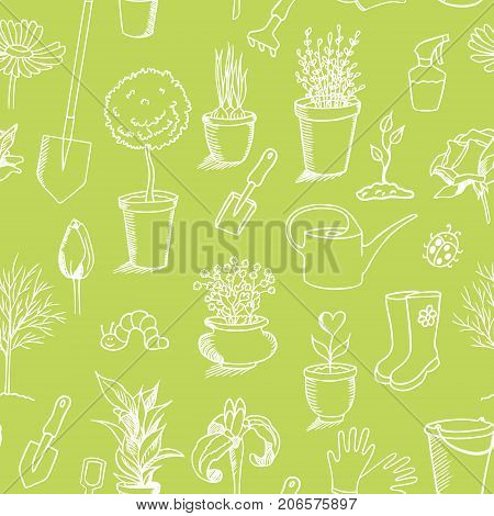 spring gardening sketch seamless pattern, green background