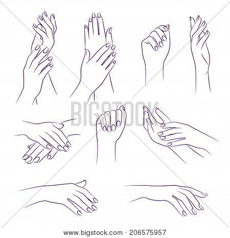 beauty hands, manicure and spa salon concept, vector sketch