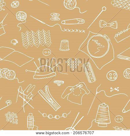 handmade sewing seamless vector pattern, brown sketch