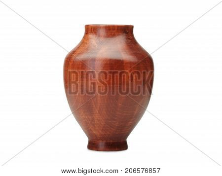 Empty Wooden vases on white background, isolated on white background. Souvenir wooden vase in ancient traditions