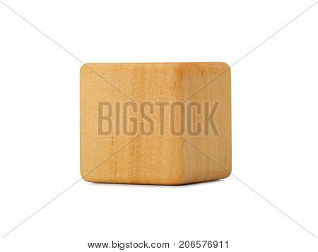 Wooden cube with empty copy space for message word, isolated in white. Wooden cube on white background with copy space. Still-life picture taken in studio with soft-box.