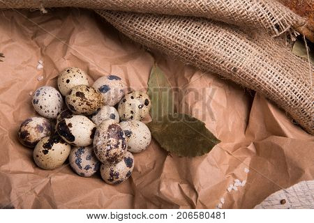 Closeup of fresh speckled quail eggs, aromatic green twigs of rosemary, dried up bay leaves on a piece of grocery paper on a light paper background.