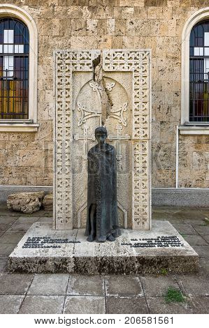 BURGAS BULGARIA - AUGUST 20 2017: Monument to the victims of the Armenian Genocide in 1915. Armenian Apostolic church.