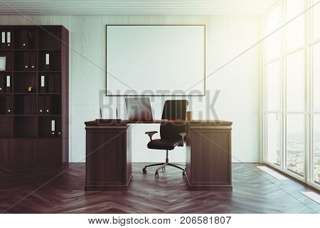 White Wood Ceo Office Interior, Poster Toned
