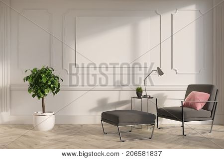 White Living Room Interior, Gray Armchair, Poster