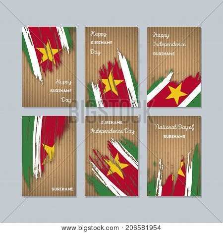 Suriname Patriotic Cards For National Day. Expressive Brush Stroke In National Flag Colors On Kraft