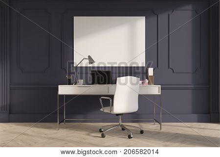 Gray Upscale Home Office Interior, Poster