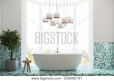 Green Bathroom Interior, Tub