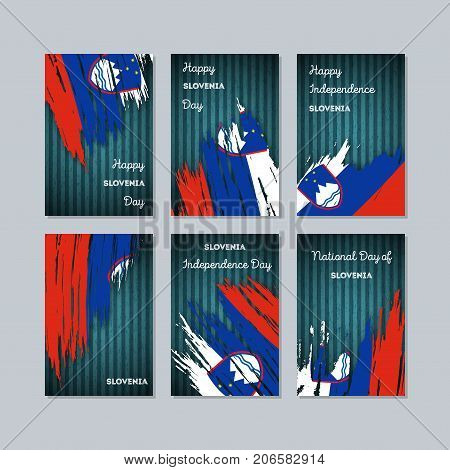 Slovenia Patriotic Cards For National Day. Expressive Brush Stroke In National Flag Colors On Dark S