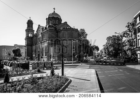 BURGAS BULGARIA - AUGUST 20 2017: The Cathedral of Saints Cyril and Methodius. Black and white. Burgas is the second largest city on the Bulgarian Black Sea Coast.