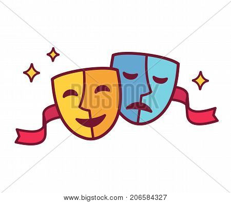 Traditional theater symbol comedy and tragedy masks with red ribbon. Yellow happy and blue sad mask icon vector illustration.