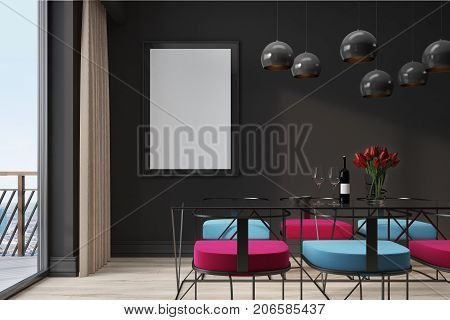 Black Cafe Interior, Blue And Red Chairs