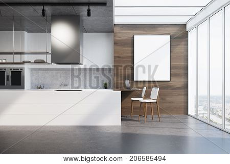 White Kitchen Counter, Wood And Concrete, Poster