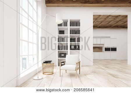 White Living Room With A Bookcase