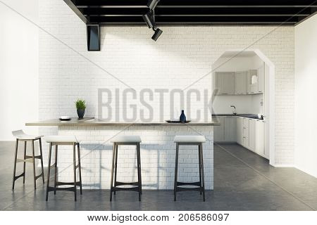 Brick Kitchen Bar, Stools And A Door, Gray