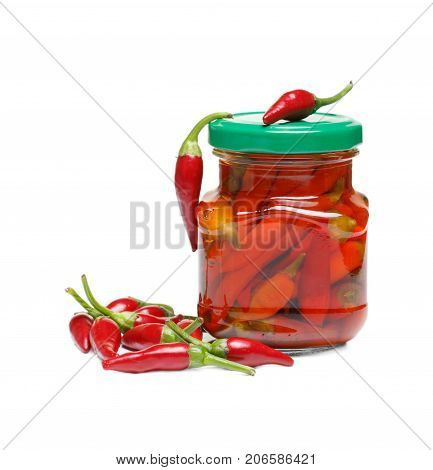 Chilli pepper on the grey background. Assorted colorful varieties of hot and sweet peppers. Mexican hot chili peppers colorful mix. Dried red or cayenne pepper chilli isolated on white background cutout.
