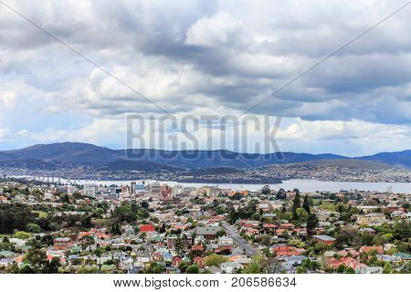 View To The Hobart City Center, Streets And Resedential Buildings, Tasmania