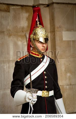 LONDON-UK, JUNE 8, 2017:  Portrait of a Royal Horse Guard at Whitehall in London.  c was a cavalry regiment of the British Army, part of the Household Cavalry