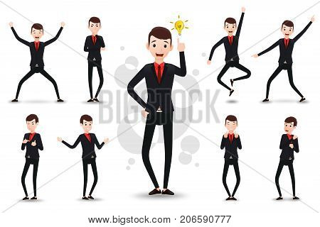 Male Funny Businessman 2D Character Ready to Use Set, Wearing Suit and Tie Standing Position with Different Facial Expressions and Gestures in Isolated White Background. Vector Illustration.