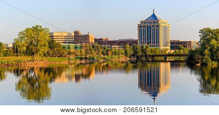 Reflection of downtown Wausau Wisconsin in the Wisconsin River in Late summer