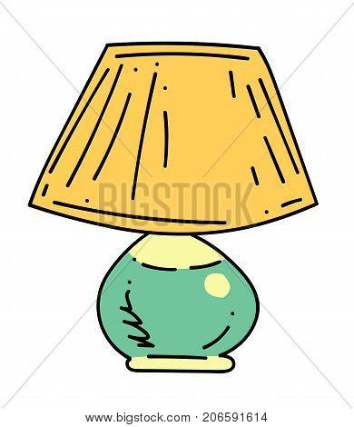 Lamp cartoon hand drawn image. Original colorful artwork, comic childish style drawing.