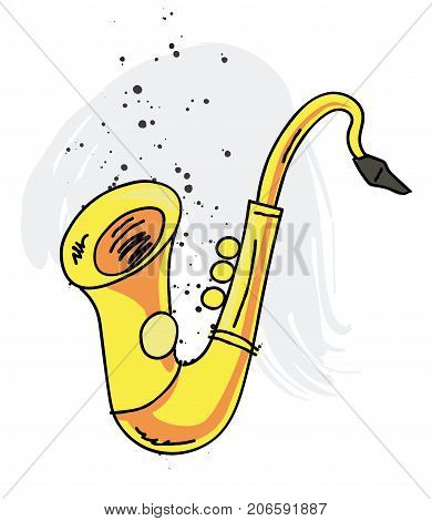 Saxophone cartoon hand drawn image. Original colorful artwork, comic childish style drawing.