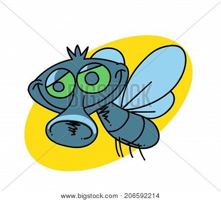 Funny fly cartoon hand drawn image. Original colorful artwork, comic childish style drawing.