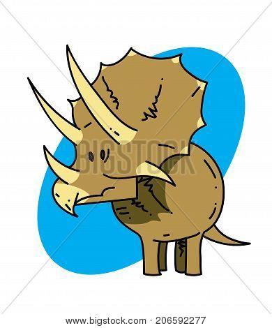 Triceratops cartoon hand drawn image. Original colorful artwork, comic childish style drawing.