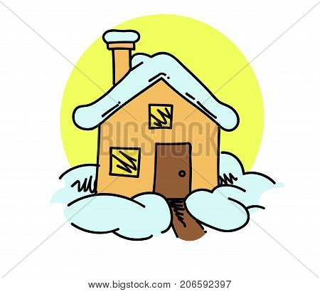 Snow covered house cartoon hand drawn image. Original colorful artwork, comic childish style drawing.