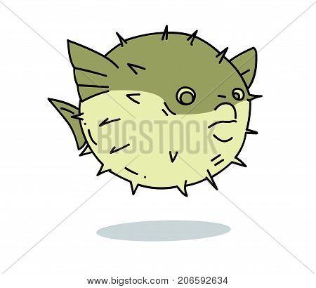 Blowfish cartoon hand drawn image. Original colorful artwork, comic childish style drawing.