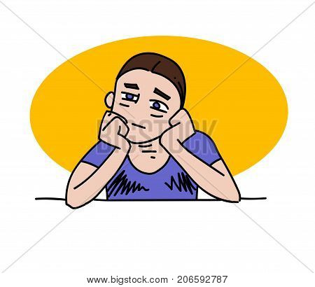 Bored man cartoon hand drawn image. Original colorful artwork, comic childish style drawing.