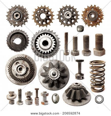 Collection Old metallic object. Gear metal wheels isolated on white background.
