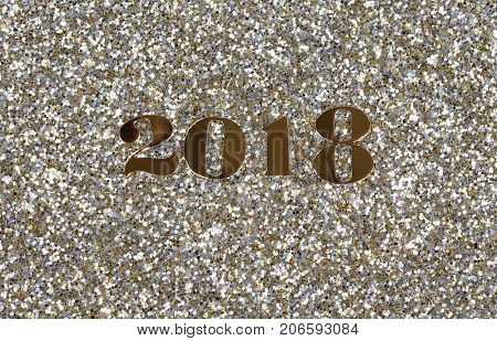 2018 gold New Year numbers on shinny glitter background