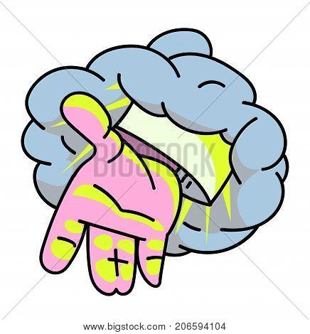 Hand of god cartoon hand drawn image. Original colorful artwork, comic childish style drawing.