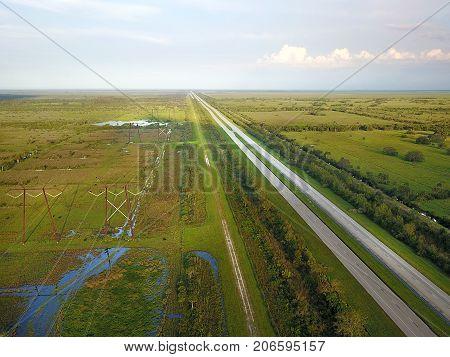 Irma Aerial Florida Turnpike Green Straight Highway