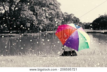 Colorful rainbow umbrella hold by sitting woman on grass field near river at outdoor with full of nature and rain Relax concept Beauty concept Lonely concept selective color Sepia dramatic tone