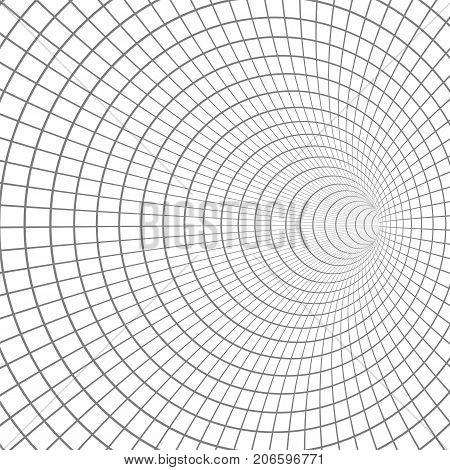 Illustration of Vector Spiral Tunnel. Wireframe Technology Vortex Tunnel Illusion Background