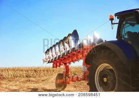 Combine Harvester, Working On The Harvest Of A Ripe Sunflower. Agriculture.