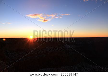 Natural Sunset Sunrise Over Mountains In Usa.