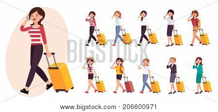 Cartoon Character Design Female Woman Talking On The Phone Heading To Airport Collection