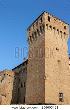 Impressive ancient fortress in historic city center. Vignola Italy