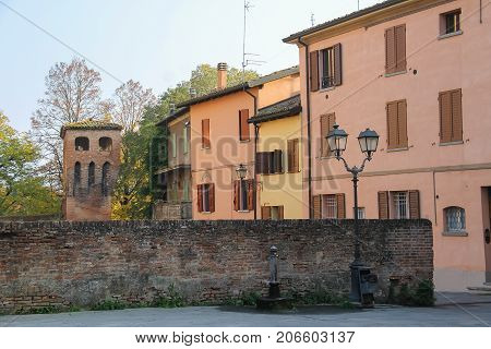 Old buildings in historic city center of Vignola Italy