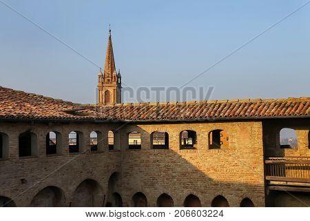Impressive ancient fortress in historic city center Vignola Italy