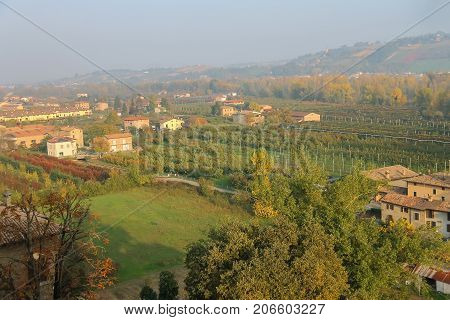 Panorama of Vignola Italy. Top view landscape